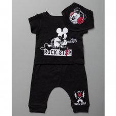 T20630:  Baby Mickey Mouse T-Shirt, Jogpant & Bib Outfit (0-12 Months)