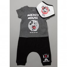 T20631:  Baby Mickey Mouse T-Shirt, Jogpant & Bib Outfit (0-12 Months)