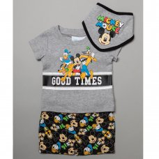 T20632:  Baby Mickey Mouse T-Shirt, Short & Bib Outfit (0-12 Months)
