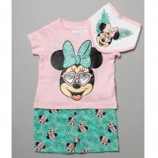 T20638:  Baby Minnie Mouse T-Shirt, Short & Bib Outfit (0-12 Months)