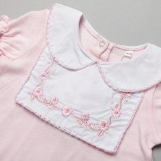 T20648: Baby Girls Romper With Lace Trim & Embroidery  (0-12 Months)