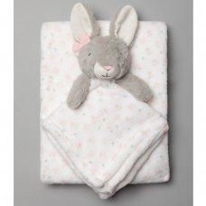 T20696: Baby Girls Bunny Comforter & Blanket