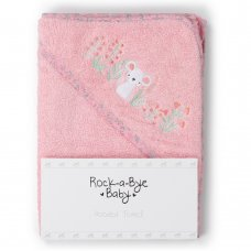T20720: Baby Pink Floral Hooded Towel/Robe