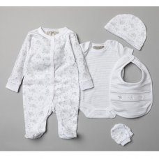 T20747: Baby Unisex Elephant 5 Piece Set In A Gift Box (0-3 Months)