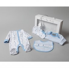 T20749: Baby Boys Nautical 5 Piece Set In A Gift Box (0-3 Months)