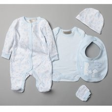 T20750: Baby Boys Bears 5 Piece Set In A Gift Box (0-3 Months)
