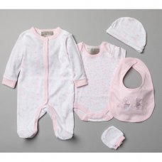 T20751: Baby Girls Floral Bunny 5 Piece Set In A Gift Box (0-3 Months)