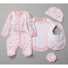 T20752: Baby Girls Floral Butterfly 5 Piece Set In A Gift Box (0-3 Months)