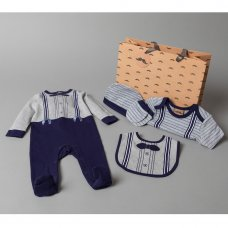 T20758: Baby Boys Bow Tie 6 Piece Mesh Bag Gift Set (NB-6 Months)