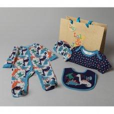 T20762: Baby Boys Dino 6 Piece Mesh Bag Gift Set (NB-6 Months)
