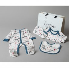 T20763: Baby Boys Animals 6 Piece Mesh Bag Gift Set (NB-6 Months)