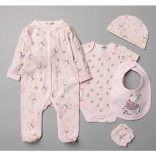 T20766: Baby Girls Ballerina Mouse 6 Piece Mesh Bag Gift Set (NB-6 Months)