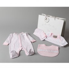T20769: Baby Girls Floral 6 Piece Mesh Bag Gift Set (0-3 Months Only)