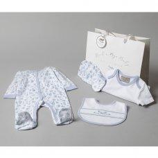 T20770: Baby Girls Blue Floral 6 Piece Mesh Bag Gift Set (NB-6 Months)