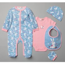 T20771: Baby Girls Floral Bunny 6 Piece Mesh Bag Gift Set (NB-6 Months)