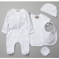 T20773: Baby Unisex Bears 6 Piece Mesh Bag Gift Set (0-3 Months Only)