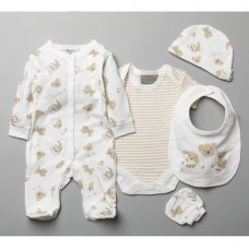 T20774: Baby Unisex Bears 6 Piece Mesh Bag Gift Set (0-3 Months Only)