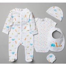 T20776: Baby Unisex Animals 6 Piece Mesh Bag Gift Set (NB-6 Months)