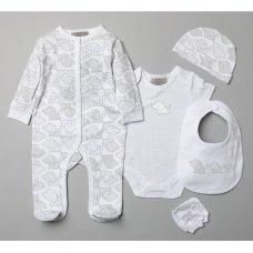 T20777: Baby Unisex Elephants 6 Piece Mesh Bag Gift Set (NB-6 Months)