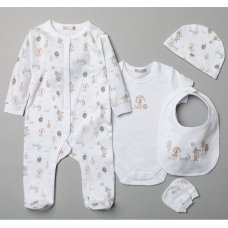 T20779: Baby Unisex Puppy In The Park 6 Piece Mesh Bag Gift Set (NB-6 Months)