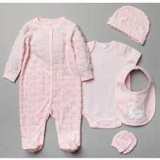 T20790: Baby Girls Swan Embossed 5 Piece Gift Set (NB-6 Months)