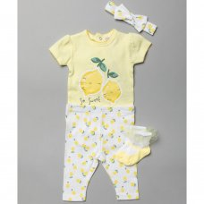 T20792:  Baby Girls Lemon Print 4 Piece Set (0-12 Months)
