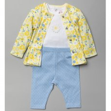 T20796:  Baby Girls Yellow Floral 3 Piece Outfit (0-18 Months)