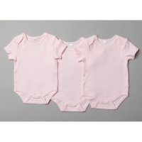 T20801: Baby Plain Pink 3 Pack Short Sleeve Bodysuits (0-12 Months)