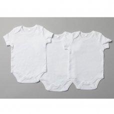 T20802: Baby Plain White 3 Pack Short Sleeve Bodysuits (0-12 Months)