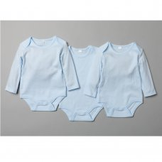 T20803: Baby Plain Sky 3 Pack Long Sleeve Bodysuits (0-12 Months)