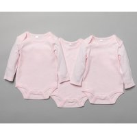 T20804: Baby Plain Pink 3 Pack Long Sleeve Bodysuits (0-12 Months)