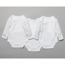 T20805: Baby Plain White 3 Pack Long Sleeve Bodysuits (0-12 Months)