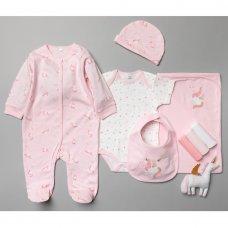 T20807: Baby Girls Unicorn 10 Piece Mesh Bag Gift Set (NB-6 Months)