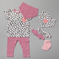 T20810:  Baby Girls Leopard 7 Piece Set (0-18 Months)