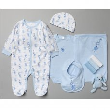 T20811: Baby Boys Bunny 10 Piece Mesh Bag Gift Set (NB-6 Months)