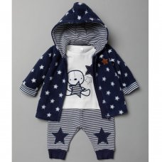 T20813: Baby Boys Stars 3 Piece Outfit (0-9 Months)