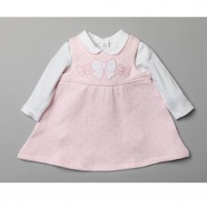 T20824: Baby Girls Quilted 2 Piece Dress Outfit (0-9 Months)