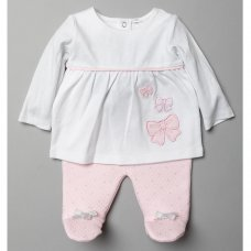 T20826: Baby Girls Quilted 2 Piece Outfit (0-9 Months)