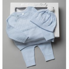 T20833: Baby Boys Cotton Knitted 3 Piece Outfit In A Gift Box (0-3 Months, box slight damage)