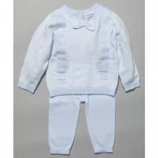 T20850: Baby Boys Bow Tie Knitted 2 Piece Outfit (0-9 Months)