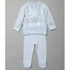 T20851: Baby Boys Star Jacquard Knitted 2 Piece Outfit (0-9 Months)