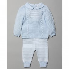 T20852: Baby Boys Cable Knitted 2 Piece Outfit (0-9 Months)