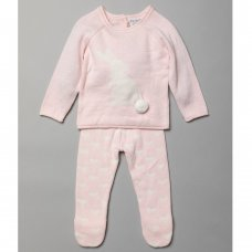 T20853: Baby Girls Jacquard Bunny Knitted 2 Piece Outfit (0-9 Months)