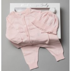 T20854: Baby Girls Cotton Knitted 3 Piece Outfit In A Gift Box (0-3 Months)