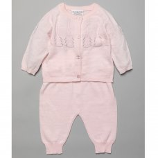 T20855: Baby Girls Pointelle Detail Knitted 2 Piece Outfit (0-9 Months)