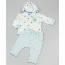 GF1043: Baby Boys All Over Print Quilted 2 Piece Outfit (0-9 Months)
