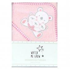 K1705: Baby Pink Teddy Hooded Towel/Robe