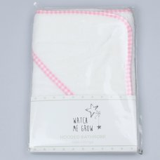 M0529: Baby White With Pink Gingham Trim Towel/Robe