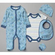 V20952: Baby Boys Safari Animals 6 Piece Mesh Bag Gift Set (NB-6 Months)
