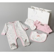 V20954: Baby Girls Floral 6 Piece Mesh Bag Gift Set (NB-6 Months)